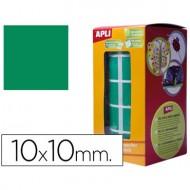 Gomets autoadhesivos cuadradas 10x10 mm verde en rollo.