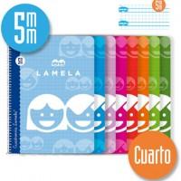 Cuaderno Espiral Lamela Tamaño Cuarto cuadrovía 5mm 40 hojas Tapa Blanda 07005
