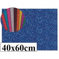Goma eva con purpurina color azul 40x60