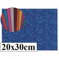 Goma eva con purpurina color azul 20x30