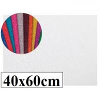 Goma eva con purpurina color blanco 40x60