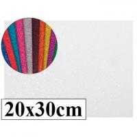 Goma eva con purpurina color blanco 20x30