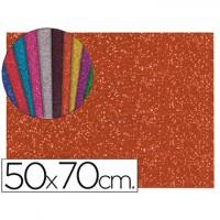 Goma eva con purpurina color naranja 50x70