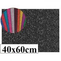 Goma eva con purpurina color negro 40x60