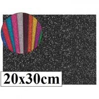 Goma eva con purpurina color negro 20x30
