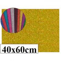 Goma eva con purpurina color oro 40x60