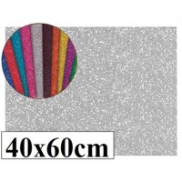 Goma eva con purpurina color plata 40x60