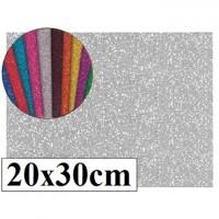 Goma eva con purpurina color plata 20x30