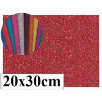 Goma eva con purpurina color rojo 20x30
