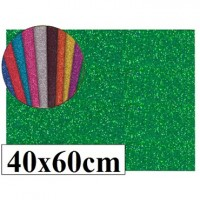 Goma eva con purpurina color verde 40x60