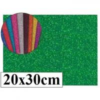 Goma eva con purpurina color verde 20x30