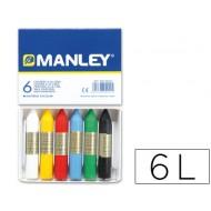 Lapices cera manley -caja de 6 colores ref.106