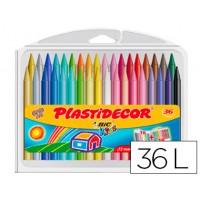 Lapices cera plastidecor caja de 36 colores