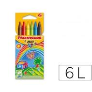 Lapices cera plastidecor caja de 6 colores