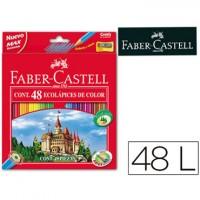 Lapices de colores faber-castell 48 colores hexagonal madera reforestada.