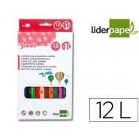 Lapices de colores liderpapel c/ de 12 colores jumbo con sacapuntas