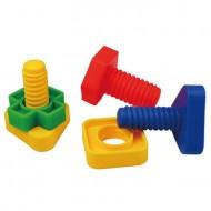 Maletín de 64 piezas de figuras de plástico en forma de tornillo y tuerca