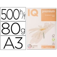 Papel fotocopiadora iq premium din a3 80 gramos paquete de 500 hojas. Caja de 5 unidades.