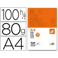 Papel liderpapel a4 80g/m2 paquete de 100 blanco