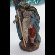Pastor inclinado con bastón y oveja 12cm