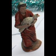 Pastora inclinada con pavo en brazos 11cm