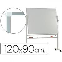 Pizarra blanca q-connect doble cara melamina marco de aluminio 120x90 cm giratoria.