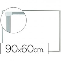 Pizarra blanca q-connect lacada magnetica marco de aluminio 90x60 cm.