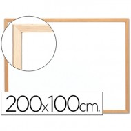 Pizarra blanca q-connect laminada marco de madera 200x100 cm.