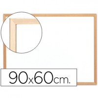 Pizarra blanca q-connect laminada marco de madera 90x60 cm.