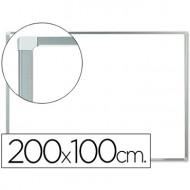 Pizarra blanca q-connect lacada magnetica marco de aluminio 200x100 cm.