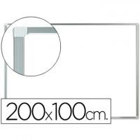 Pizarra blanca q-connect laminada marco de aluminio 200x100 cm.