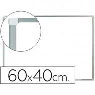 Pizarra blanca q-connect melamina marco de aluminio 60x40 cm.