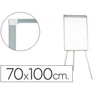 Pizarra blanca q-connect con tripode 70x100 cm para convenciones superficie laminada escritura directa