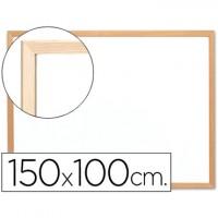 Pizarra blanca q-connect laminada marco de madera 150x100 cm.