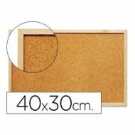 Pizarra corcho q-connect 40x30 cm marco de madera