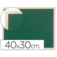Pizarra verde q-connect marco de madera 40x30 cm sin repisa