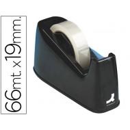 Portarrollo sobremesa q-connect plastico para cintasde 33 y 66 mt negro