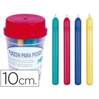 Punzon plastico de color -con punta de acero latonado