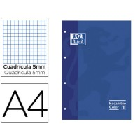 Recambio color oxford din a4 80 hojas 90 grs cuadros 5 mm 4 taladros azul