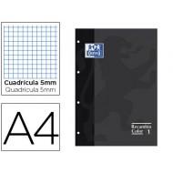 Recambio color oxford din a4 80 hojas 90 grs cuadros 5 mm 4 taladros negro