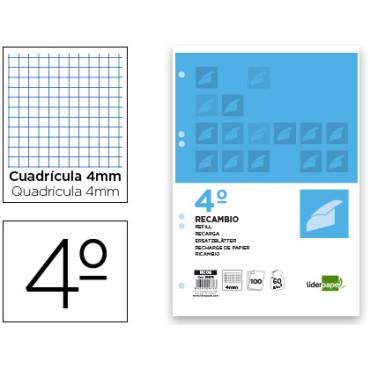 Recambio liderpapel cuarto 100 hojas 60g/m2 cuadro 4mm con margen 6 taladros