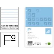 Recambio liderpapel folio 100 hojas 60g/m2horizontal con margen 4 taladros