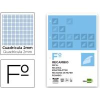 Recambio liderpapel folio 100 hojas 60g/m2milimetrado sin margen 4 taladros