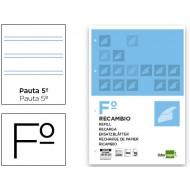 Recambio liderpapel folio 100 hojas 60g/m2pauta   2.5mm con margen 4 taladros