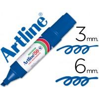 Rotulador artline marcador permanente ek-50 azul -punta biselada 6 mm -papel metal y cristal
