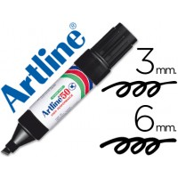 Rotulador artline marcador permanente ek-50 negro -punta biselada 6 mm -papel metal y cristal