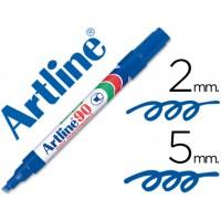 Rotulador artline marcador permanente ek-90 azul -punta biselada 5 mm -papel metal y cristal