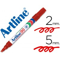 Rotulador artline marcador permanente ek-90 rojo -punta biselada 5 mm -papel metal y cristal