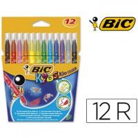 Rotulador bic kids estuche de 12 colores tinta base agua ultra lavable.