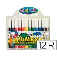 Rotulador carioca jumbo estuche de 12 colores de punta gruesa